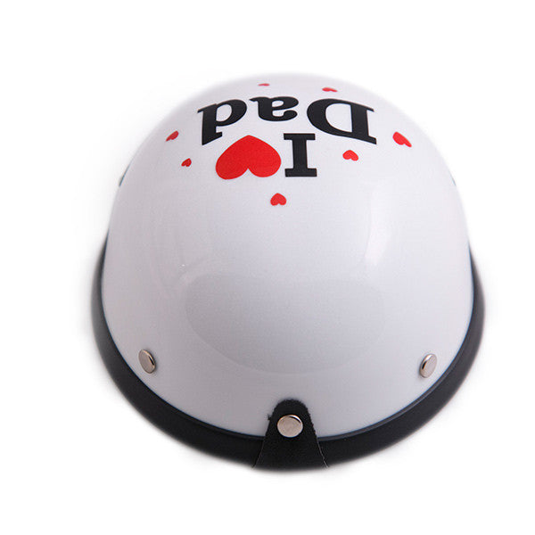 Dog Helmet - I Love Dad - White - Back