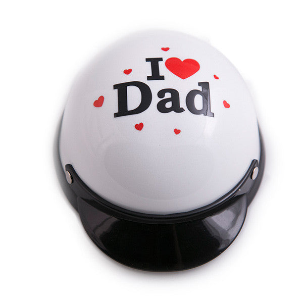 Dog Helmet - I Love Dad - White - Front