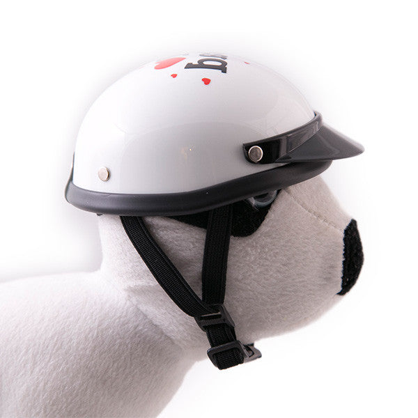 Dog Helmet - I Love Dad - White - Strap