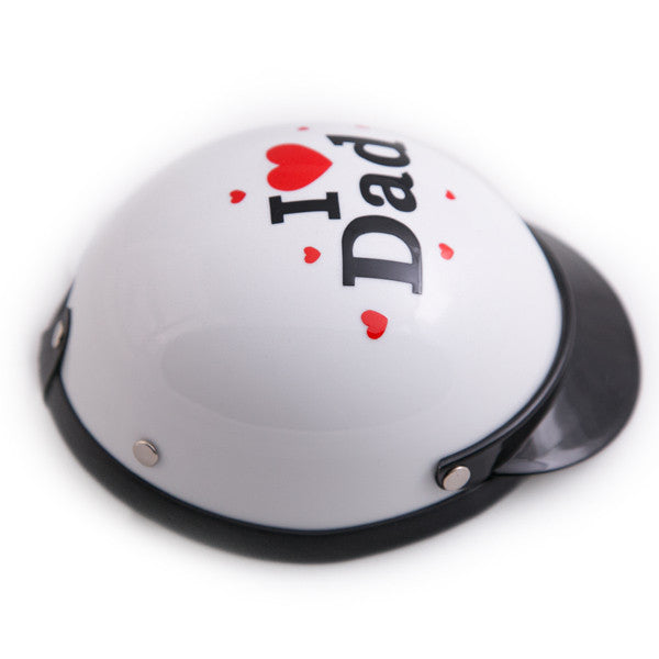 Dog Helmet - I Love Dad - White - Side