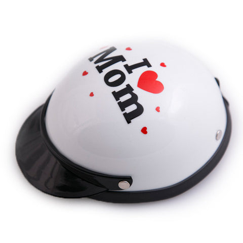Dog Helmet - I Love Mom - White - Main