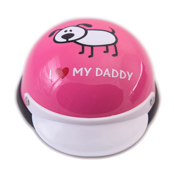 Dog Helmet - I Love My Daddy - Pink - Front
