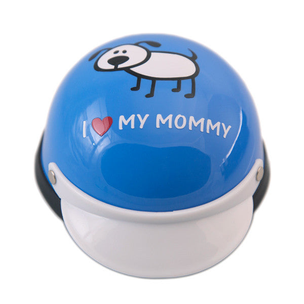 Dog Helmet - I Love My Mommy - Blue - Front
