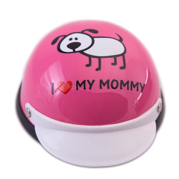 Dog Helmet - I Love My Mommy - Pink - Front