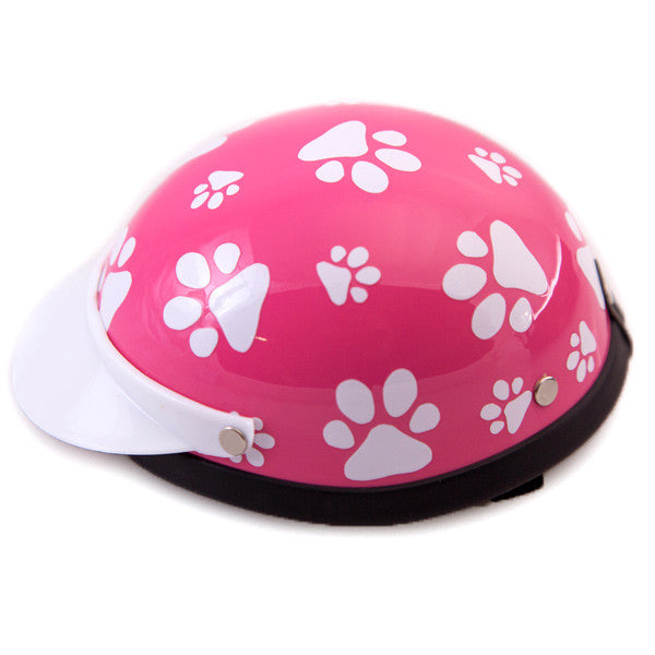 Dog Helmet - Pink Paws - Side View