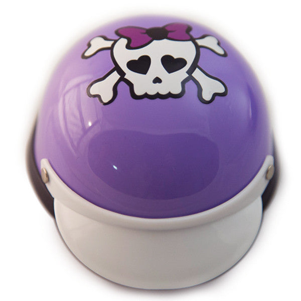 Dog Helmet - Purple Skull - Front