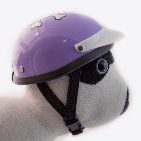 Dog Helmet - Purple Skull - Strap