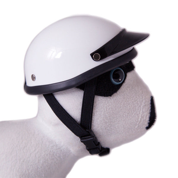 Dog Helmet - White - Strap
