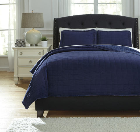 Amare Navy King Coverlet Set