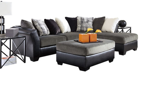 Armant Ebony Sectional with Ottoman