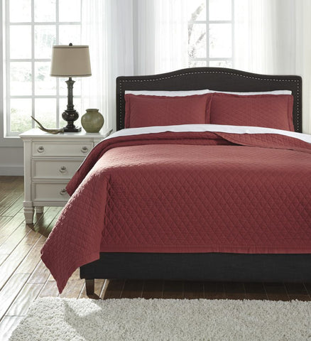 Alecio Red King Quilt Set
