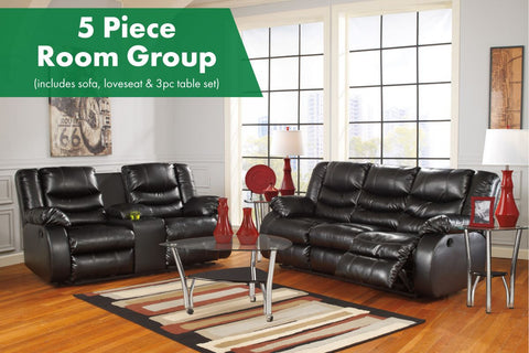 Linebacker Black 5 Piece Living Room