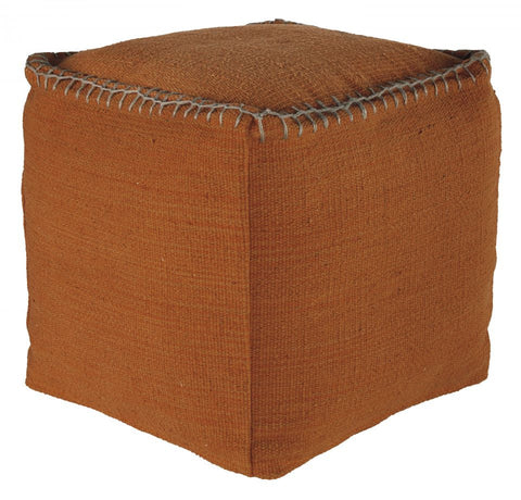 Caius Orange Pouf Ottoman