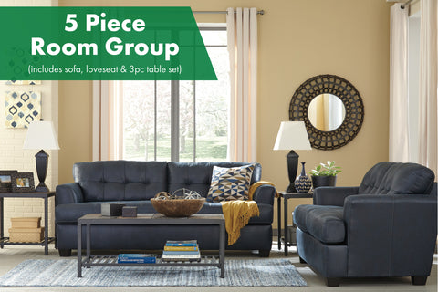 Inmon Navy 5 Piece Living Room Group
