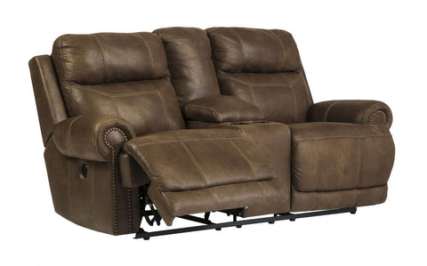 Austere Brown Reclining Power Loveseat