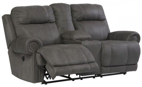 Austere Gray Reclining Power Loveseat