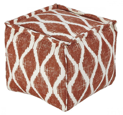 Bruce Orange/White Pouf Ottoman