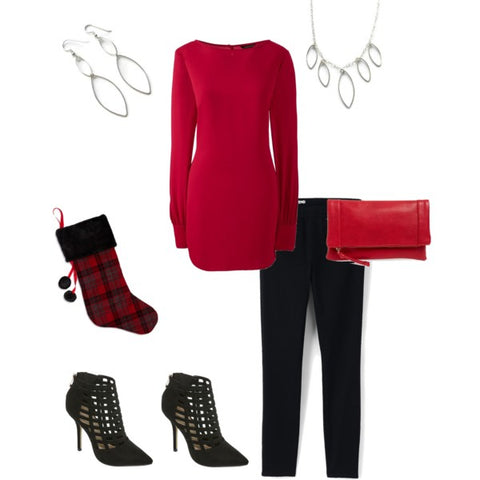 Christmas party outfit-red sweater-Christmas sweater