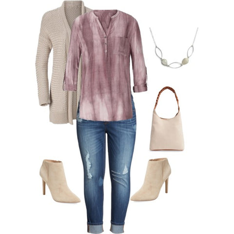 Beige Outfit-Cardigan Sweater-Fall Style-Tan Handbag-Beige Booties