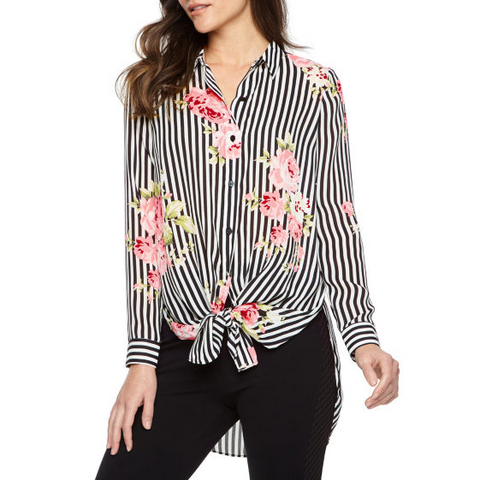 floral blouse, tie front top, Spring fashion ideas