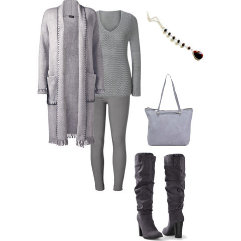 grey fashion-Winter Style-boots-Garnet Necklace