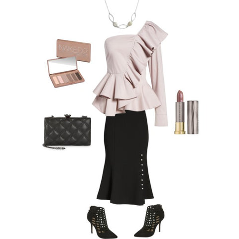 New Year's Eve style-Off the shoulder top-black skirt-high fashion