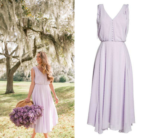 lilac dress, spring dress, party dress, what to wear to a Summer wedding, Brunch, Baby Shower