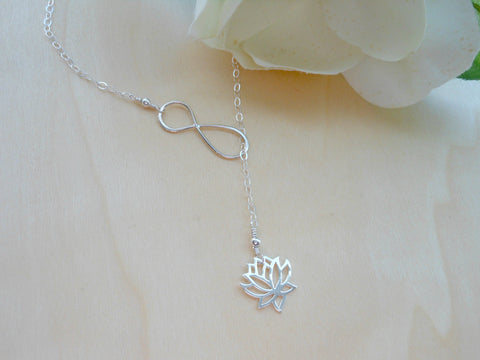 infinity lariat, lotus flower lariat, handmade infinity necklace, infinity jewelry, gift for best friend