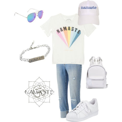 yoga style-namaste-jeans and tee shirt-casual fashion-sneakers