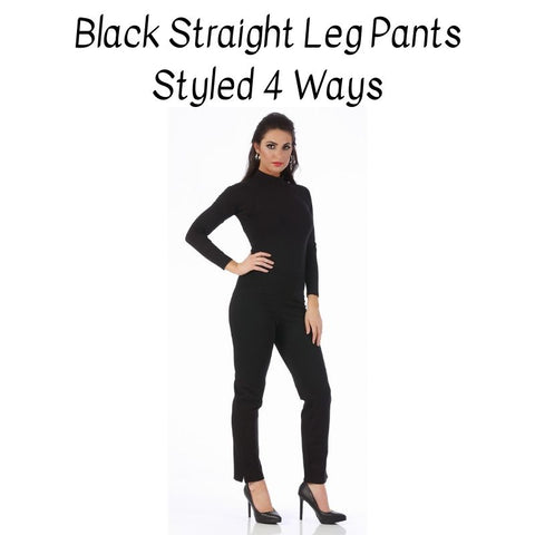 black straight leg pants for women, Fall outfit, Winter outfits