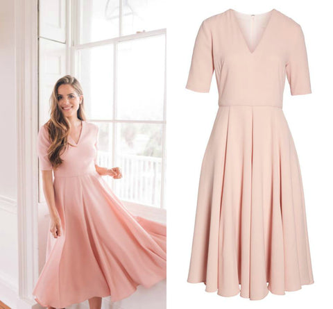 pink dress, midi dress, spring style, graduation party