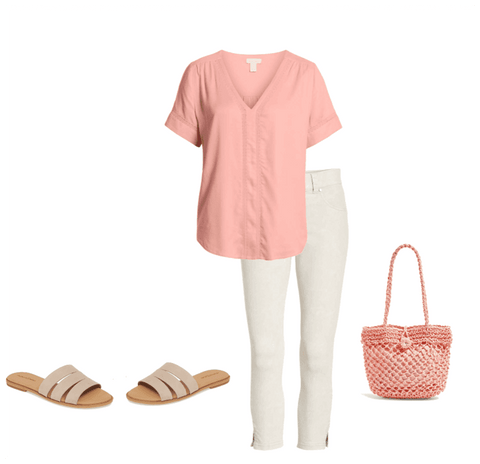 Summer outfit, Summer style, pink top, vacation outfit