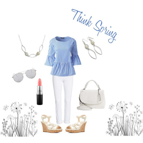 Think Spring, Spring Fashion 2018, White Pants, White Sandals, Spring Style