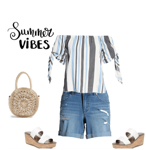 Summer outfit, denim short, sandals, straw handbag