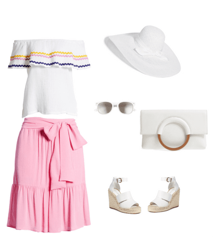 Summer fashion, white hat, white clutch, white wedge sandals, pink skirt