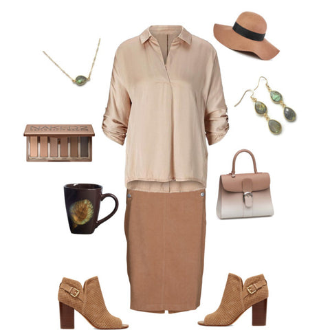 Fall Outfit-Brown Fashion-Neutral Style-Professional Style-Labradorite Jewelry