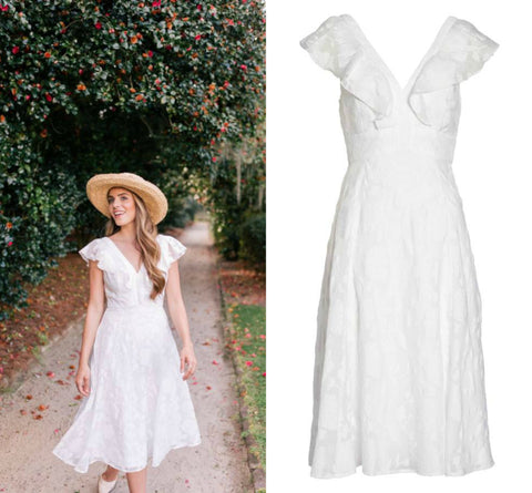 white spring dress, afternoon wedding, Nordstrom, handmade jewelry, spring outfit