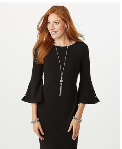 black dress with bell sleeves, what to wear to work in the Fall, Fabulous Creations Jewelry
