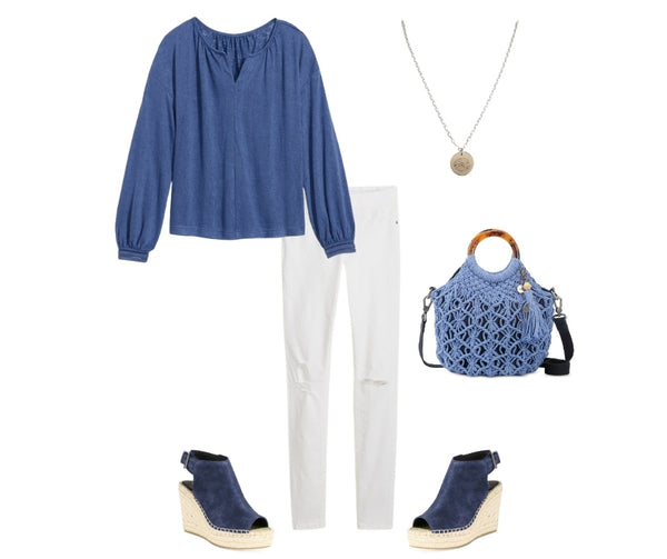 blue and white outfit for women