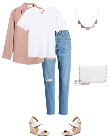 Spring outfit, Jeans and a white tee shirt with a bib necklace