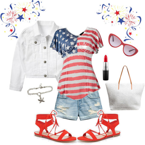 red white and blue outfit-summer style-fourth of July
