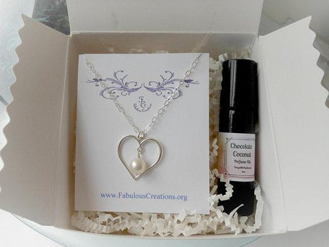 jewelry and perfume gift set, mothers gift set, natural perfume
