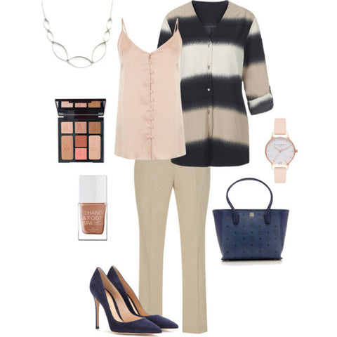 office outfit-tan pants-statement jewelry-navy pumps-neutral fashion