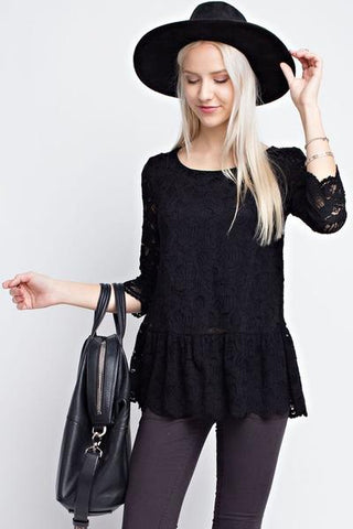 black top-peplum lace top-Christmas gift idea