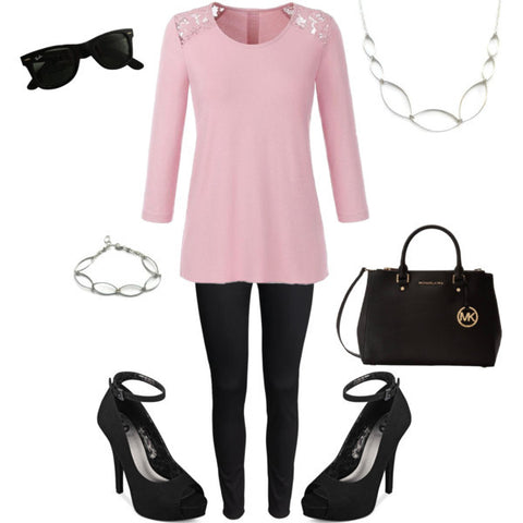 pink blouse-black pumps-black and pink style