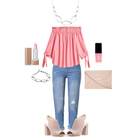 pink off the shoulder top-ripped jeans-statement necklace-cuff bracelet