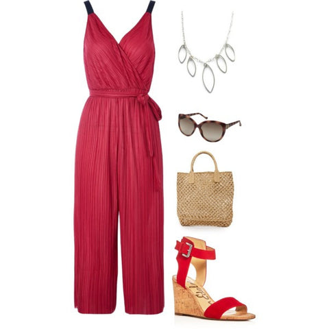 red jumpsuit-bib necklace-marquise-red wedge shoes-boho style