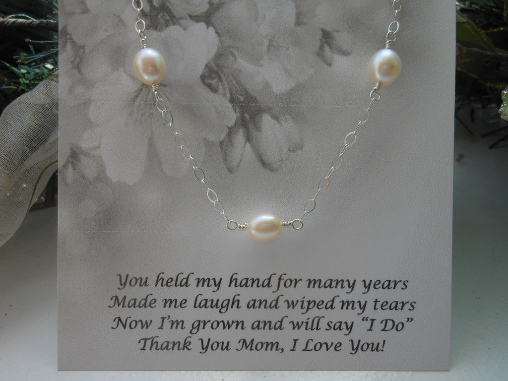 Mother of the Bride Gift, Sterling Silver Pearl Necklace