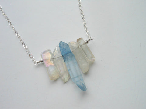 Crystal Quartz Spike Necklace, Bib Necklace, Boho Jewelry
