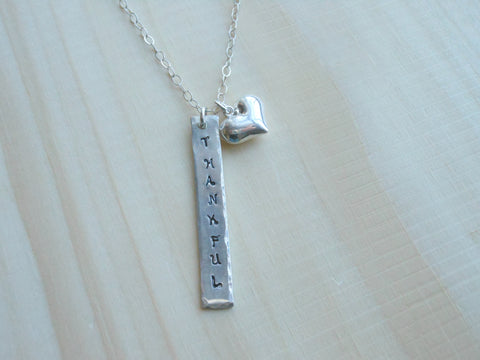 Thankful Heart Necklace, Sterling Silver Bar Necklace